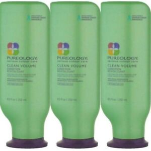 3 PACK! PUREOLOGY CLEAN VOLUME CONDITIONER 8.5 OZ SERIOUS COLOUR CARE VOLUMIZING