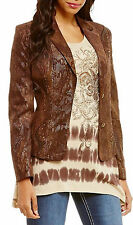 Reba Sierra Sunrise Faux Leather Embellished Jacket Womens Size 1X NWT $168