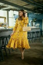 H&M X Johanna Ortiz Yellow Floral orchids Crêpe Maxi Dress Smal limited edition