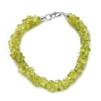 "925 Sterling Silver Platinum Over Peridot Bracelet Jewelry Size 7.25"" Ct 76.5"