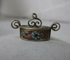 Tine Box Charm Pendant Norway Sterling Silver Enamel Scandinavian Norwegian Norg