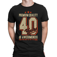 Mens 40th Birthday T-Shirt 40 YEARS OF AWESOMENESS Dad Son Brother Funny Gift