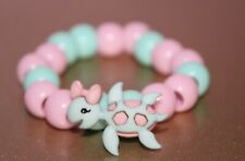 Cute Girls (kids) Turtle Pony Bead Bracelet Green Pink Stretch Magic String