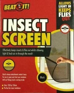BLACK Window Insect Netting Kit Fly Bug Mosquito Curtain Screen Mesh Net Cover