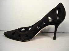 Manolo Blahnik Black BB Rete Laser Cut Leather Classic PUMPS Pointy Toe HEELS 36