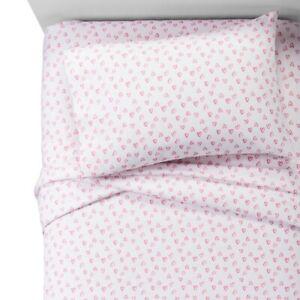 """Pillowfort Hearts Light Pink 100% Cotton Sheet Set Twin Cotton 66"""" x 96"""""""
