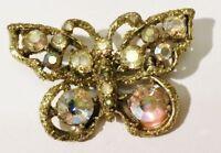 broche ancienne bijou vintage papillon couleur or cristal boréalis * 3497