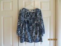 Chicos Womens Blue White 3/4 Sleeve Button Front Elastic Hem Top Size 1