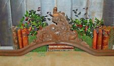 Antique French Large Acanthus Pediment Carved Wood Arched Architectural Mount