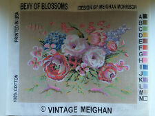 """Needlepoint Tapestry Canvas Flowers Bevy of Blossoms 14"""" x 18"""" Vintage Meighan"""