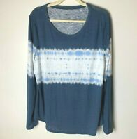 Sonoma Women's Top Size XXL Tie Dye Look Long Sleeves Casual Cotton Blend Blue