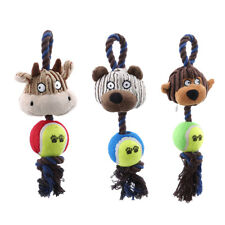 Puppy Dog Pet Interactive Play Cotton Rope Tennis Ball Plush Toys Chew Toy HZ