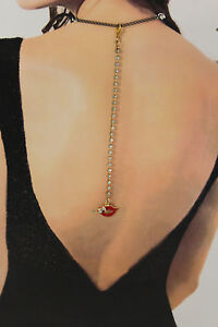 Women Back Pendant Necklace Gold Metal Chain Fashion Jewelry Charm Red Lips Kiss