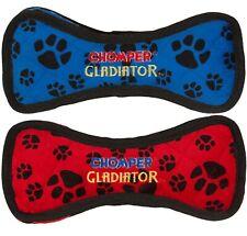 "Bone Shaped Dog Toy Gladiator Tough Plush Durable Tug Pawprint Colors Vary 10"""