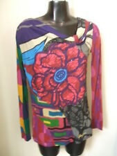 Desigual Top Shirt Small Art To Wear Abstract Long Sleeve Flower Beads Colorful