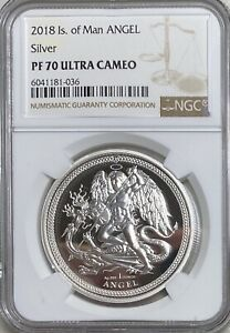 2018 Isle of Man Angel Proof 1 Ounce Silver NGC Pf70 Ultra Cameo