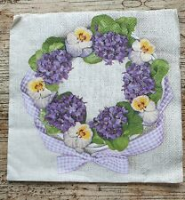 4 x Napkins for decoupage lunch  flower wreath purple  floral bow