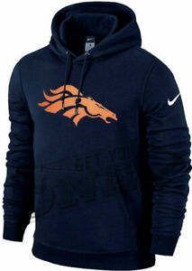 Nike DENVER BRONCOS Charged Up Lined Big Logo Fleece Pullover Cotton Hoodie NEW