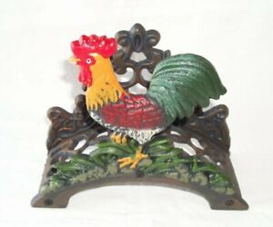 Tube Holder Rooster,Garden Hose Holder,Cast Iron Coloured IN Country House Style