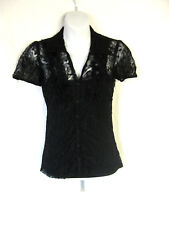 *Black Floral Ruffle Stretch Lace Layered Tank & Collared Button Blouse Gothic S