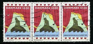 Denmark 1996, Scott # 1044, strip of 3, used.