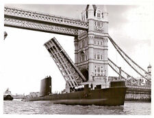 HMS Dolphin Royal Navy Submarine Passing Tower Bridge London MOD Photo 1980