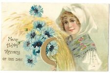 Beautiful Woman with flowers vintage Raphael Tuck Beauty Birthday Postcard  1909
