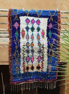 Moroccan berber blue and white Boucherouite Rug  218 x 152 cm