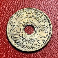 #3826 - RARE -  25 centimes 1939 Lindauer SPL/FDC sortie de rouleau - FACTURE