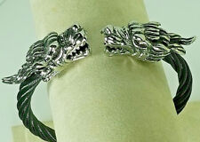 Unisex Stainless Steel Double Dragon Gothic Bracelet & Blk Twisted Steel Cuff