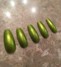 Metallic Green Long Coffin False Nails