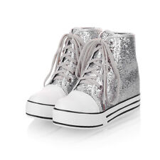 sequins Womens Creeper Lace Up Hidden Wedge Heel Sport Canvas Sneakers Shoes