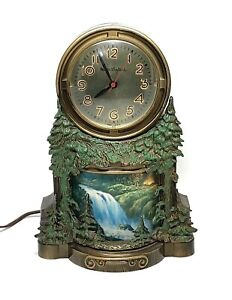 VINTAGE MASTERCRAFTERS WATERFALL ANIMATED MOTION LIGHTED CLOCK - WORKING