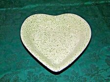 Stoneware Apple Heart Shaped Baking Dish Green & Cream inside Blue Speckle Out