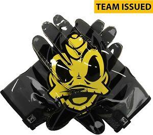 Oregon Ducks Issued Black Yellow Mesh Nike Football Gloves Size Large Game Used