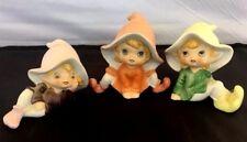 3 Vintage Homco Home Interiors Pixie Elves Figurines # 5213 So Cute!