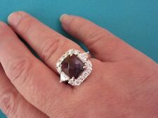 925 Sterling Silver Ring With Amethyst And White Topaz UK S, US 9 (rg0842)