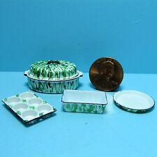 Dollhouse Miniature Kitchen Cookware Set with Green Spatterware Pattern CAR0873