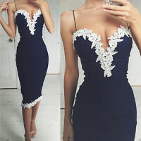 Women Sexy Navy Bodycon Dress Ladies V Neck Floral Lace Evening Party Long
