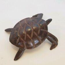 """Unique Hand Carved Ironwood wood sea turtle medium Figurine 4.5"""" long"""
