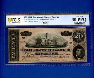 1864 $20 Confederate Paper Money PCGS-B Very Fine 30 PPQ T-67 PF-4 PERFECT PAPER