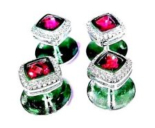 New Exclusive Sterling Silver Fine quality Natural Garnet & Cz tuxedo buttons