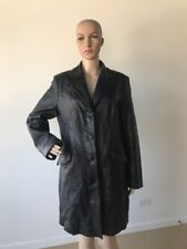 Lord & Taylor Long Black Butter Soft Genuine Leather Coat 4 Button Jacket Size M