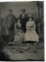 Charming Tintype Photograph - Two Couples Man and Women Wearing Hat Studio Set