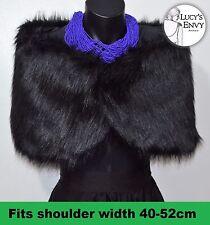 Black Faux Fur Wrap Shrug Shawl Bridal Wedding by Lucy's Envy W109
