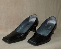 NOUCHKA Damen Pumps Schuhe Gr.38, glänzend schwarz-oliv