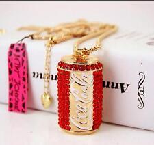 Charm Betsey Johnson Pendant Rhinestone Chain Red Coke bottle Women Necklace