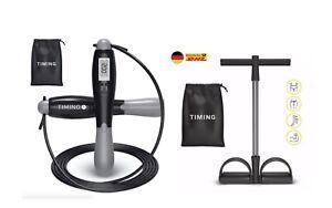 Springseil mit digitalem Zähler + Pedal Widerstandsband 2er Sport Fitness Set