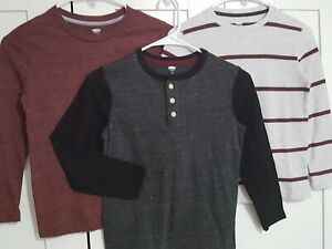 3 OLD NAVY Long-Sleeve Shirts: Thermal-Knit, Raglan Henley, Soft Tee, Boys M (8)