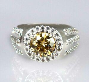 3.98 Ct Champagne Diamond Solitaire Halo Men's Silver Ring Anniversary Present